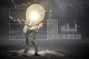 big data idea light bulb search dark