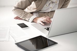 mobile desk phone computer laptop tablet workspace