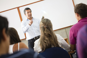 College classroom students teach learn