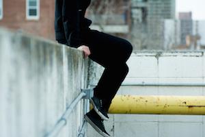 city guy think ponder jump sit hangout