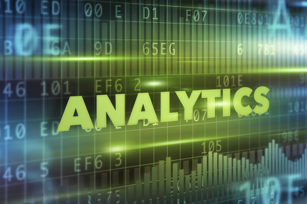 Analytics technology illustration concept with green text