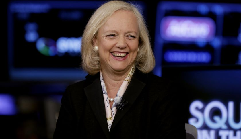 Meg Whitman, the chairman, president and CEO of Hewlett-Packard, is interviewed on the floor of the New York Stock Exchange Thursday, Aug. 21, 2014. (AP Photo/Richard Drew)